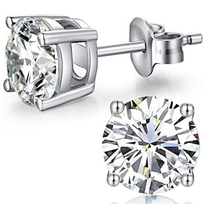 Amante Sterling Silver Solitaire Swarovski Crystal Claw Set Stud Earrings