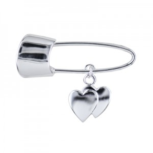 Sterling Silver Baby Pin With Double Heart Drop