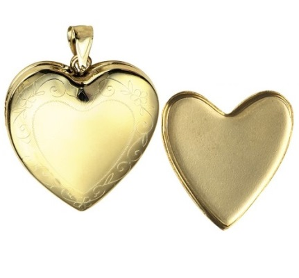 Amante 9ct Gold I Photo Memorial Heart Locket with Engraved Border -24mm