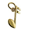 Amante 9ct Gold Solid Crotchet Note Music Charm Pendant