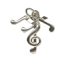Amante Sterling Silver Solid 3 Piece Music Note Charm Pendant
