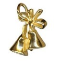 Amante Solid 9ct Gold Wedding Bells And Bow Charm Pendant