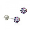 Amante Sterling Silver Pink and Blue Swarovski Crystal Ball Stud Earrings