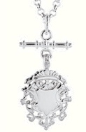 Amante Sterling Silver Solid Link Oval  Belcher Fob Necklace with Reversible Shield -45cm
