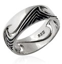 Sand Surf and Sea Silver Tribal Waves Ring