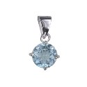 Amante Sterling Silver Round Natural Blue Topaz Pendant