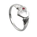 Amante Sterling Silver January Heart Signet Ring