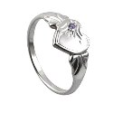 Amante Sterling Silver February Heart Signet Ring