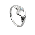 Amante Sterling Silver March Heart Signet Ring