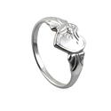 Amante Sterling Silver April Heart Signet Ring