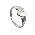Amante Sterling Silver August Heart Signet Ring