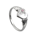 Amante Sterling Silver October Heart Signet Ring