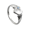 Amante Sterling Silver December Heart Signet Ring