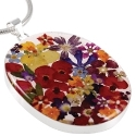 Wildflower Sterling Silver Large Oval Mixed Bouquet Pendant