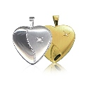 9ct Gold Double Sided Diamond Set Heart Locket - 16mm