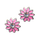 Amante Sterling Silver Pink Enamel Flower Stud Earring With A Sparkling Crystal