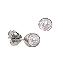 Sterling Silver April Birthstone Stud Earrings