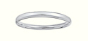 Sterling Silver Hollow 5mm Plain Cushion Fit Bangle-51mm