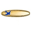 9ct Gold Oval Beaded Edge Baby's Bluebird Brooch