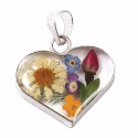 Wildflower Silver Mixed Bouquet Heart Pendant