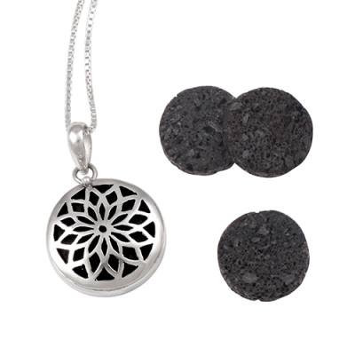 Amante Sterling Silver Flower of Life Aromatherapy Locket Pendant