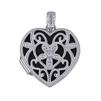 Amante Sterling Silver Diamond Set Filigree Heart Locket