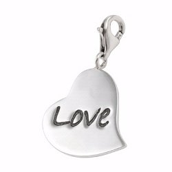 Poetic Silver Heart Shaped Love Charm