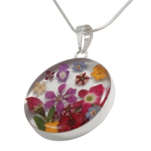 Wildflower Silver Large Mixed Bouquet Round Pendant