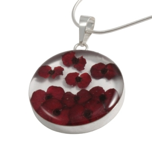 Wildflower Silver Large Red Flower Round Pendant