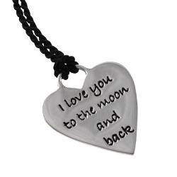 Poetic Pieces Silver Heart Pendant with Silk Necklace