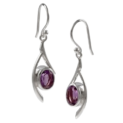 Amante Silver  Amethyst Sway Earrings
