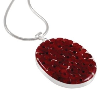 Wildflower Sterling Silver Large Oval Red Flower Pendant