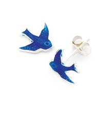 Sterling Silver Children's Bluebird Stud Earrings