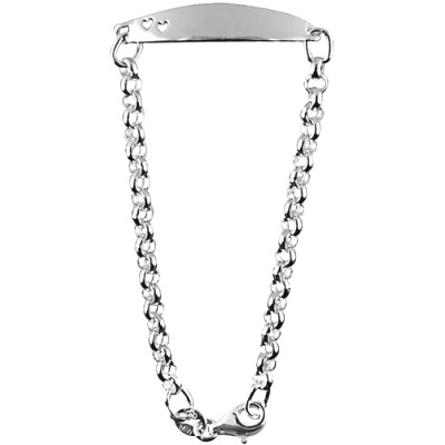 Sterling Silver Baby Belcher  ID Bracelet with cut out Hearts