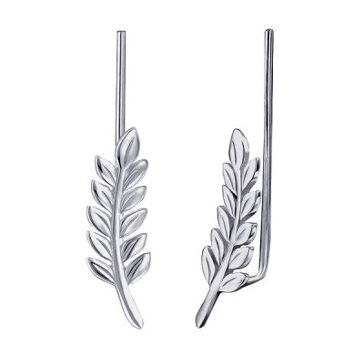 Amante Sterling Silver Leaf Ear Climber Earrings