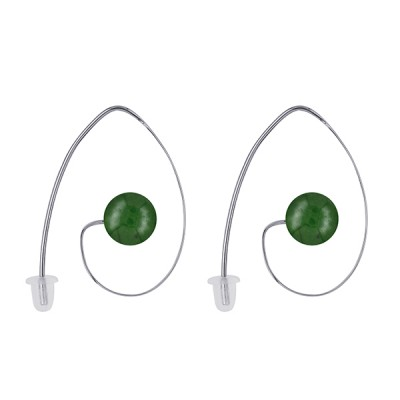 Amante Sterling Silver and Green Agate Earrings