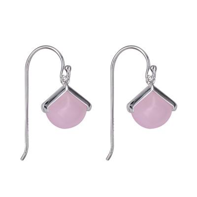 Amante Sterling Silver Rose Quartz Drop Earrings
