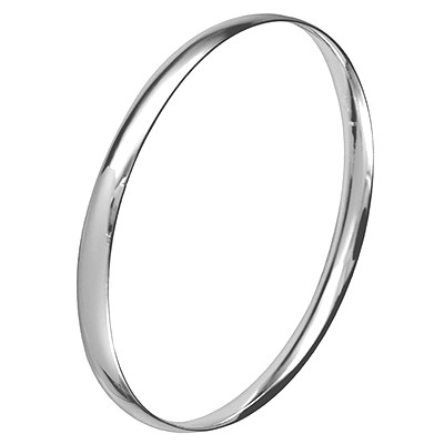 Amante Sterling Silver Oval Solid 5.5mm Cushion Fit Bangle