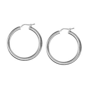 Amante 9ct White Gold Italian Plain 20mm Hoop Earrings