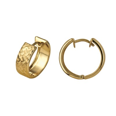 Amante 9ct Gold Hammered Huggie Earrings