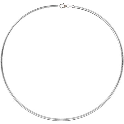 Amante Sterling Silver Italian Crafted Solid Flat Omega Necklace -45cm