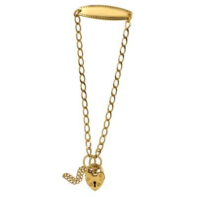 9ct Gold Long Link Diamond Cut Open Curb ID Baby Bracelet with Plain Heart Padlock