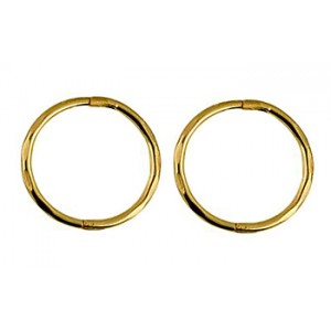 9ct Yellow Gold solid large faceted sleeper earrings-  14mm