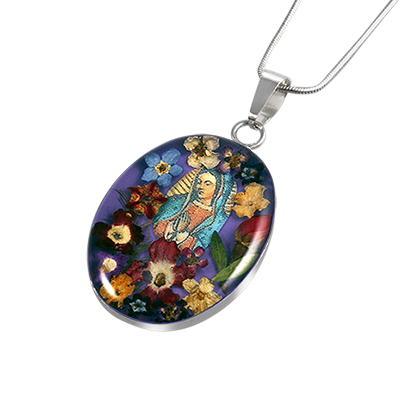 Wildflower Sterling Silver Large Virgin Mary Oval Pendant with Purple Background
