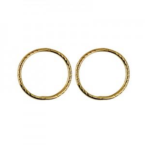 9ct Gold Solid Medium Twist Sleeper Earrings - 12mm