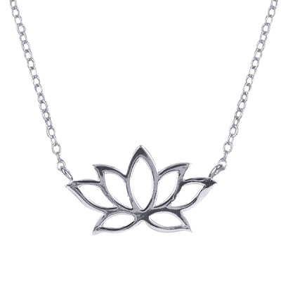 Amante Sterling Silver Lotus Flower Necklace