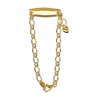 Amante Sterling Silver Yellow Gold Plated Oval Figaro ID Bracelet with Puffed Heart Charm