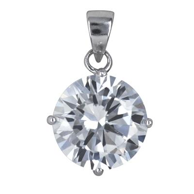Amante Sterling Silver Swarovski Crystal Solitaire Pendant
