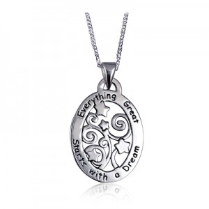 Sterling Silver Everything Great Starts with a Dream Oval Pendant with Necklace