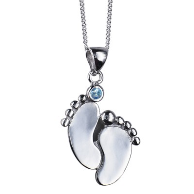Sterling Silver Baby Footprint Pendant with Light Blue Swarovski Crystal and Matching Necklace